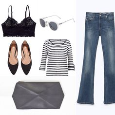 What to wear? ➳ Flared jeans / bralette and stripes... | - AestheticYou -