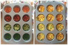 Ricetta delle frittatine di verdure al forno. Si preparano in 5 minuti con le teglia dei muffin. Ideali per i bambini. Sane e veloci.