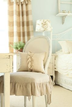 ZsaZsa Bellagio: Shabby, French, Rustic Home Delights.chair for breakfast table Shabby Vintage, Shabby Chic, French Vintage, Plaid Curtains, Striped Curtains, Check Curtains, Modern Curtains, Home Bedroom, Bedroom Decor