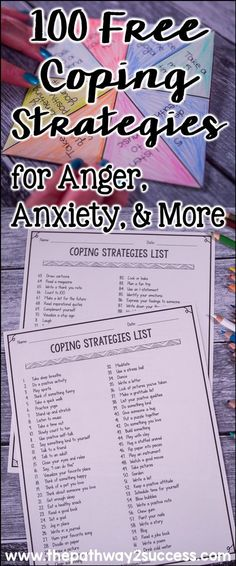 Get your free list of 100 coping strategies to help manage anger, anxiety, depression, stress, and other strong emotions. #pathway2success #copingstrategies #specialeducation