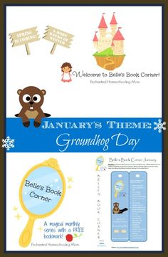 Belle's Book Corner for January with themed book list and FREE printable bookmark! - Enchanted Homeschooling Mom #printable