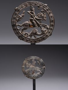 A rare and beautifully preserved English pewter badge, depicting St. George slaying the dragon and dating to around 1400 - 1550 AD.