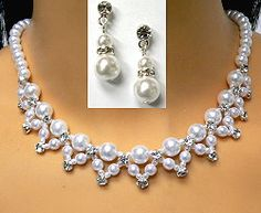 CRYSTAL & PEARL BRIDAL NECKLACE SET