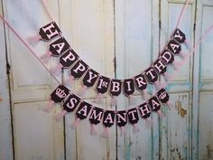 Happy 1st Birthday Banner, Name Banner with Crowns Optional, Embossed Pink and Black Banner with Tulle, Girls 1st Birthday Banner Princess by PaperEtcStudio on Etsy
