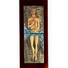 Jesucristo Resucitado 15° estacione mayólica pastel madera