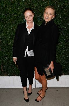 "Stella McCartney Designer Stella McCartney (L) and actress Charlize Theron arrive at the screening of ""The Party"""