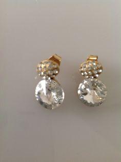 Swarovski earrings,crystal earrings,gold earrings,crystal and gold earrings,women's jewelry,jewelry for women,gold jewelry,gifts for girls by PassionByMaya on Etsy
