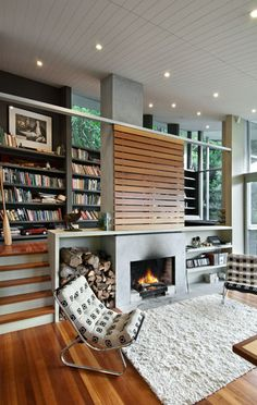 raised reading/study nook near fireplace/living room // Apple Bay House by Parsonson Architects, NZ
