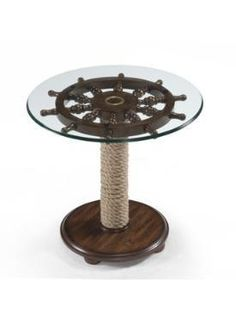 Nautical Wheel Round Accent Table Ship Boat Steering Wood Glass Decor Furniture for sale online Nautical Furniture, Furniture Decor, Furniture Outlet, Online Furniture, Kitchen Furniture, Wolf Furniture, Smart Furniture, Round Accent Table, Accent Tables