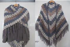 haken Omslagdoek - Granny steek - Tweed garen van Zeeman: 2 bollen blauw, 2 wit, 1 bruin. Als je één kleur gebruikt: 4 bollen. Haaknaald 10