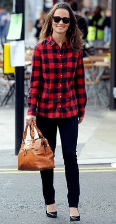 Pippa kept it casual in a red Zara flannel shirt teamed with black jeans and patent pumps.