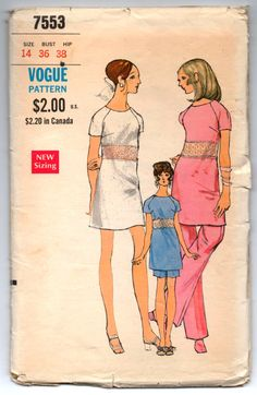 """1960's Vogue One-Piece Shift Dress, Trouser and Shorts Pattern - UC/FF - Bust 36"""" - No. 7553 by backroomfinds on Etsy"""
