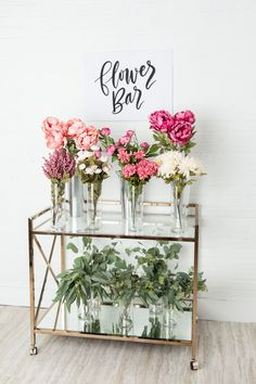 bridal shower flower bar