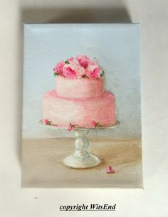 Rosy Cake painting RESEERVED for M original ooak art by 4WitsEnd