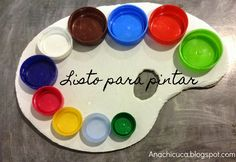 Using plastic bottle tops - a clever way to teach little ones about colours whilst being creative.
