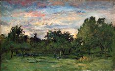 """Charles-François Daubigny: """"Landschap"""", XIXe siècle, huile sur toile, Dimensions: 93,7 × 151 cm, Musée des Beaux-Arts de Ghent, Ghent , Belgium"""