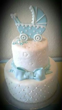 Blue baby buggy shower cake