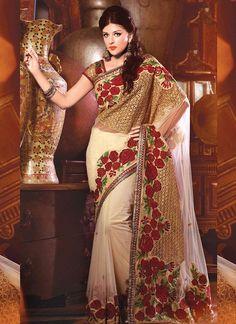 Tantalizing Embroidered Work Net Classic Designer Saree