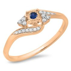 Share and get $20 off your order of $100 or more. 0.20 Carat (ctw) 18K Rose Gold Round Blue Sapphire & White Diamond Ladies Twisted Swirl Promise Engagement Ring 1/5 CT - Dazzling Rock #https://www.pinterest.com/dazzlingrock/