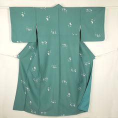 Green vintage komon kimono / 【小紋】リサイクル着物/緑色地/深緑色/白色/化繊/グラス柄 http://www.rakuten.co.jp/aiyama/