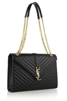 Black quilted leather (Calf) Convertible chain and leather shoulder strap YSL plaque, back patch pocket, gold hardware Internal zipped pocket Fully lined in black twill Concealed magnetic-fastening front flap Comes with dust bag