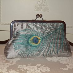 Peacock Feather Embroidered Silk Clutch/PurseTeal on by Paulownias, $75.00
