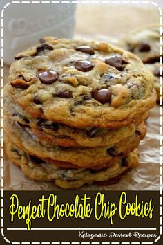 These 'perfect' chocolate chip cookies are completely buttery, chewy, thick and chocked full of rich, semi-sweet chocolate chips. #cookies #chocolate #chocolatechip #desserts #baking