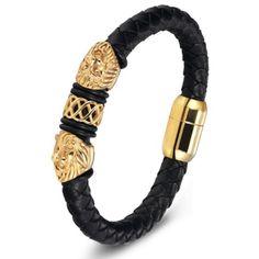 IzuBizu London Unisex Mens 18CT Gold Plated Leather Lion Head Bracelet Bangle Free Gift Box by IzuBizuLondon on Etsy Bracelets For Men, Fashion Bracelets, Bangle Bracelets, Fashion Jewelry, Bracelet Men, Designer Mens Bracelets, Men's Leather Bracelets, Braided Bracelets, Leather Cuffs