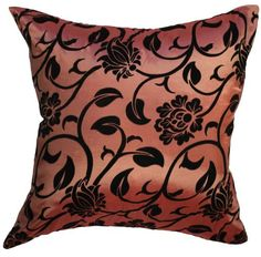 Blooming Vine-18x18 Inches, Black Velour Blooming Vine on Shiny Silk Decorative Pillow Cover. (Salmon Pink) Exotique Imports http://www.amazon.com/dp/B00I4LF7QY/ref=cm_sw_r_pi_dp_SVuAub0NNFET9