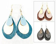 Leather Earrings - 3 Layer Teardrop (Choose Your Color / Custom Made Earrings) Gifts for Her
