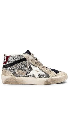 Mid Star Glitter Sneaker Golden Goose Collections - Click to Shop #affiliatelink Cow Leather, Leather Heels, Fashion Brand, High Fashion, Luxury Shoes, Designing Women, Bootie Boots, Golden Goose, Sneakers