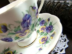 Queen Anne Footed Fine Bone China Teacup Tea by TheVintageTeacup,