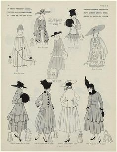 "Millinery and Coats, 1916. ""In these ""chemise"" designs, the odd blouse very cleverly lives up to its name ; The suit coats of the season have agreed among themselves to differ in length."""