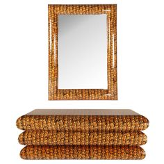 Stunning Karl Springer Batik Console and Mirror | From a unique collection of antique and modern pier mirrors and console mirrors at http://www.1stdibs.com/furniture/mirrors/pier-mirrors-console-mirrors/