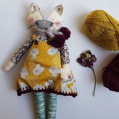 Handmade modern ragdoll with crochet scarf
