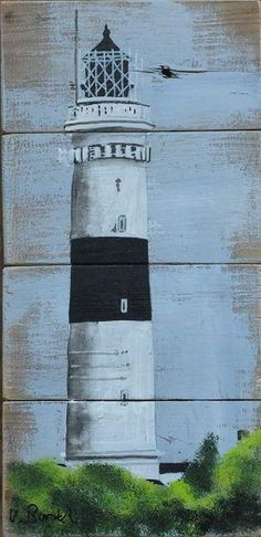 Diy Wood Wall Art Paint Canvases Ideas For 2019 Pallet Painting, Pallet Art, Painting On Wood, Beach Wood, Beach Art, Diy Wood Wall, Lighthouse Painting, Driftwood Art, Home Decor Wall Art