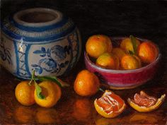 Daily painting, a painting a day, contemporary still life landscape small work of art by Youqing Eugene Wang, Y. Realism Artists, Fruit Painting, Ginger Jars, Red Roses, Oriental, Stuffed Mushrooms, Fine Art, Vegetables, Mandarin Oranges