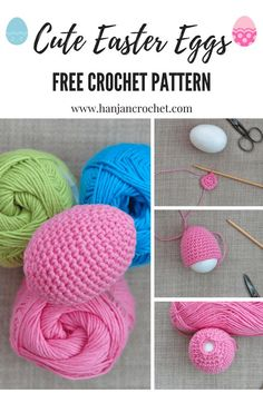 Crochet Easter Eggs – Free Crochet Pattern – HanJan Crochet Who can resist pops of candy colours at this time of year? These cute little crochet Easter eggs are just the thing to complete your… Crochet Easter, Holiday Crochet, Crochet Bunny, Diy Crochet, Quick Crochet Patterns, Easter Crochet Patterns, Crochet Patterns Amigurumi, Easter Projects, Easter Crafts