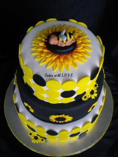 Sunflower Baby Shower Cake   Bee, Black, White, Yellow, Stripes, Flowers  Feel Free To Share My Work! Check Out My Facebook Page For More: Https://wu2026