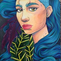 Itching to do more with markers. This one is off to her new home in Canada land I used the amazing @actuallygrimes as reference #flashbackfriday #artangels #grimes #markers #plantlife #traditionalart #stefari by stefari