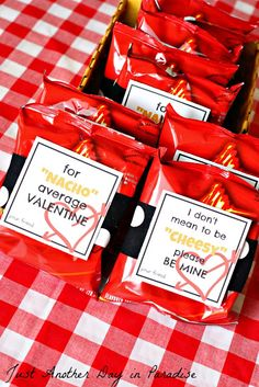 """free printables """"for nacho average valentine"""" and """"i don't mean to be cheesy please be mine"""" valentines to go with mini bags of nachos and cheetos"""