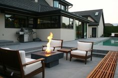 Concrete fire table Kelowna Fired Earth, Fire Table, Fire Bowls, Outdoor Furniture, Outdoor Decor, Concrete, Patio, Modern, Tables