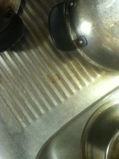 A heart-shaped coffee stain on our kitchen counter.