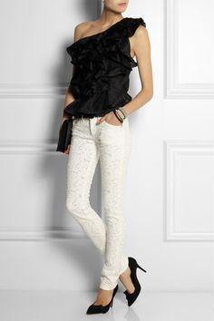 Étoile Isabel Marant                               Mael broderie anglaise low-rise skinny jeans