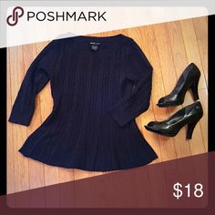 New York & Company Peplum Sweater Black peplum sweater gently used with some pilling, mostly under arms.  Still looks great!  From clean smoke free home. New York & Company Sweaters