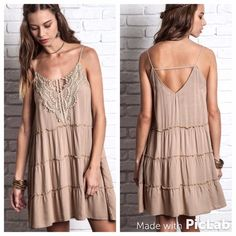 Sleeveless Bohemian Cami Dress S M L Sleeveless Lace Tank Dress.  Sizes: Small, Medium, Large. Color: Taupe. Looks great paired with our crochet vest!   Comment below with your size and we create a separate listing for you to purchase. Dresses