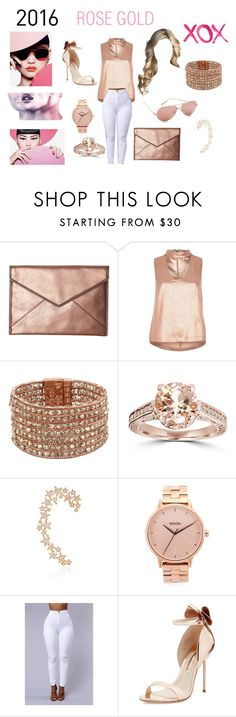 """""""ROSE GOLD"""" by magnifique-fashionista ❤ liked on Polyvore featuring Rebecca Minkoff, River Island, Kenneth Cole, Bliss Diamond, Stefere, Nixon, Sophia Webster, GALA and Smashbox"""