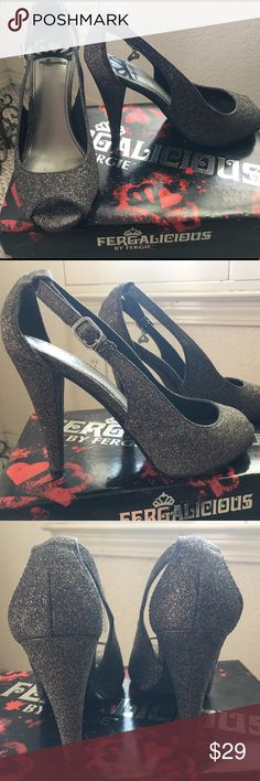 Fergalicious Sparkly heels 👠💎👠💎 Black/ Silvery Fergalicious glittery heels. Size 6.5/ 7. It says 6.5, but I normally wear 7. They have an adjustable strap. Worn on 2 occasions. Fergalicious Shoes Heels