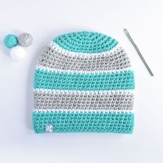 Teal, white and light grey...What a dreamy colour combo!💕  Design your own beanie at www.kbeanies.com