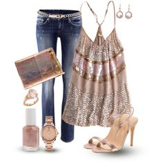 A Rosie Outlook Girls Night Out Outfit -without the high heels and a cute sandal instead.